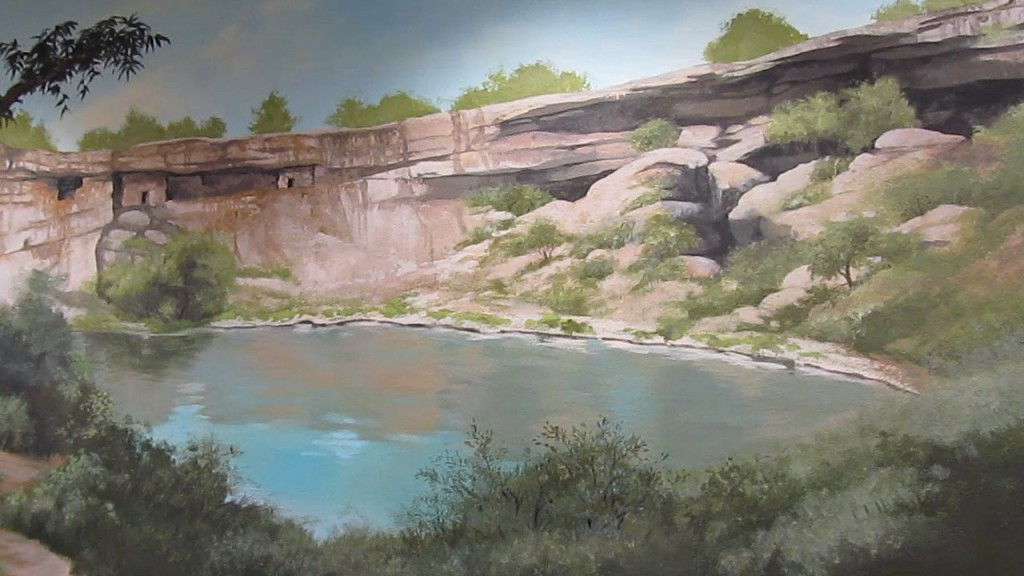 Mural of Montezuma Well on the wall of Beaver Creek Library in Rimrock, Arizona.
